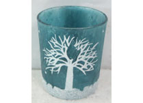 Frosted Blue Glass Candle Holder