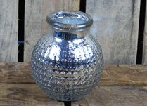 Round Silver Glass Tealight Holder