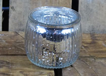 Silver Round Ribbed Glass Tealight Holder