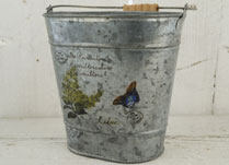 Decorated Oval Zinc Bucket with Wooden Bead on Handle