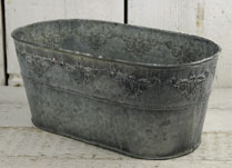 Vintage Zinc Oval Trough with Damask Embossment
