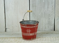 Red Zinc Bucket With Christmas Snowflake Design
