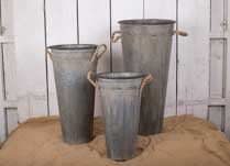 Embossed flower bucket style planter Set of Three