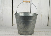 Greywashed Zinc Bucket with Embossed Heart