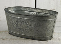 Greywashed Zinc Trough with Embossed Heart