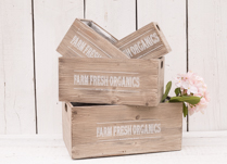 Lovely set of four wooden farm fresh organic planters