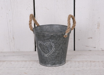 Round Large Zinc Pot with Hemp Rope Ears