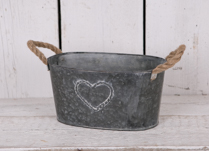 Oval Medium Zinc Trough with Hemp Rope Ears