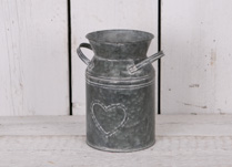 Small Zinc Milk Churn with Heart Detail