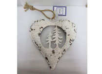 White Metal Heart With Trees