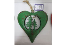 Large Green Metal Heart With Trees