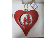 Large Red Metal Heart With Trees