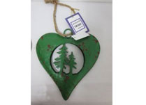 Medium Green Metal Heart With Trees
