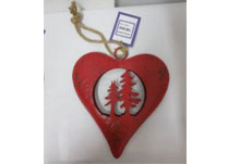 Medium Red Metal Heart With Trees