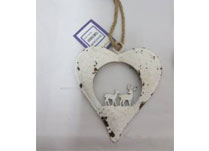 Small White Metal Heart With Reindeer