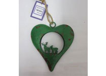Small Green Metal Heart With Reindeer