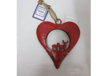 Small Red Metal Heart With Reindeer