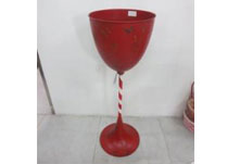 Tall Red Metal Candy Cane Cup