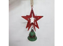 3D Hanging Red Metal Star with Green Bell