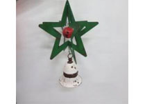 Large 3D Green Metal Star with White Bell