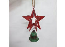 Large 3D Red Metal Star with Green Bell