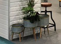 Set of Three Metal Planters on Wooden Legs detail page