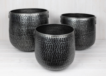 Set of 3 Hammered Planters