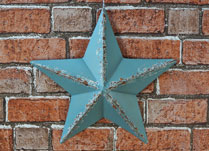 Pale Blue Metal Barn Star Decoration