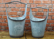 Two Ribbed Planters with Tall Handles