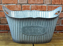 Large Oval Ribbed Zinc Planter
