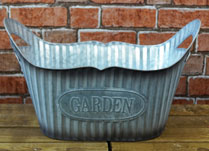 Ribbed Zinc Oval Planter
