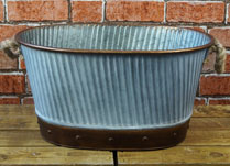 Zinc Bucket with Rope Handles