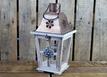 Wooden Lantern with Snowflake detail