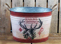 Zinc Bucket with Stag's Head