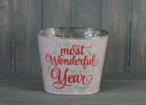 Medium Glittery White Bucket with Christmas Phrase