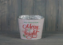 Glittery White Bucket with Christmas Phrase