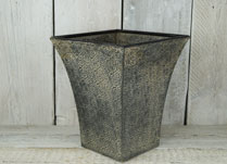 Square Embossed Planter with Aged Patina