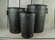 Set of 3 Tall Black Zinc Containers