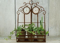Antique Wall Planter with Thermometer and Barometer
