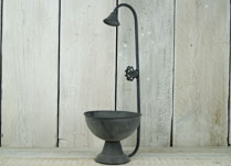Light Grey Zinc Planting Bowl with Decorative Tap