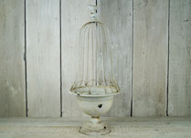 Antique Cream Bowl with Tall Metal Cloche