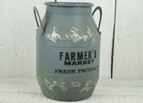Grey Zinc Milk Churn with FARMER'S MARKET Slogan