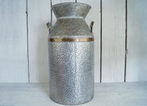 Hammered Zinc Milke Churn with Contrasting Copper Bands