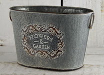 Grey Vintage Zinc Flowers and Garden Trough