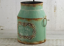 Green Vintage Zinc Flowers and Garden Milk Churn