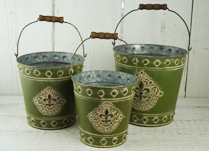Set of Green Fleur De Lis Buckets