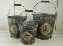 Set of Grey Fleur De Lis Buckets