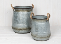 Set of Two Metal Planters with Rope Handles