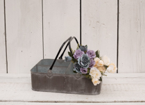 Grey metal tray with different compartments and metal handle. Wonderful gift idea!