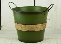 Green Zinc Bucket with Ears and Hessian Rope